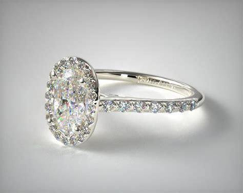 Halo Shank Diamond Engagement Ring (Oval Center)   14K