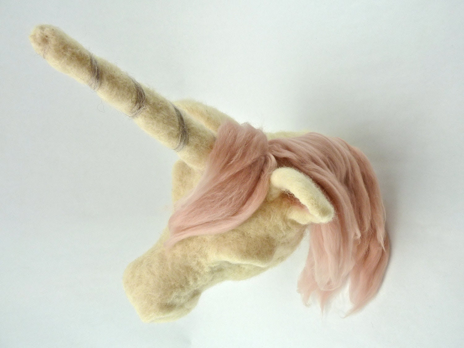 Unicorn Art, Dusty Pink Mane Unicorn Wall Mount, Unicorn Head, Felted Wool Unicorn Faux Taxidermy - sheepcreeknc