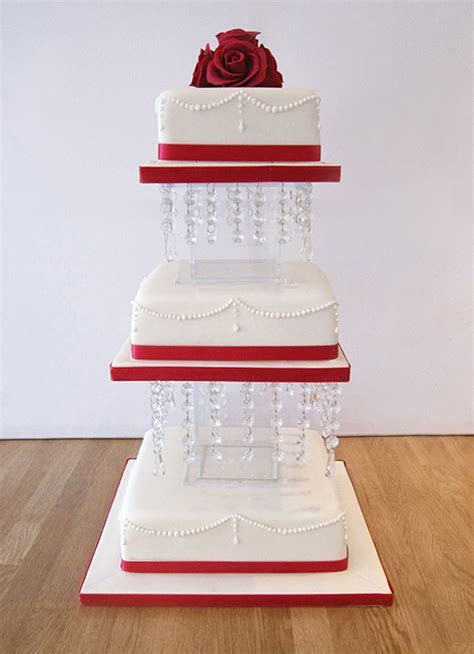 3 Tier Square Wedding Cake on Chandelier Stand   The