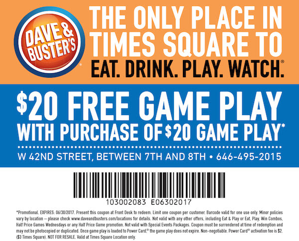 Dave and busters coupons $20 2018 : I9 sports coupon