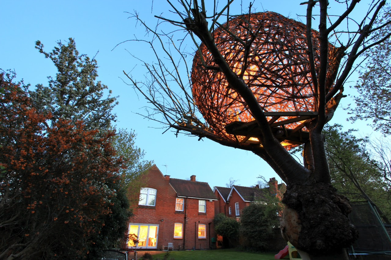 An Illuminated Woven Willow Tree House by Tom Hare trees treehouses