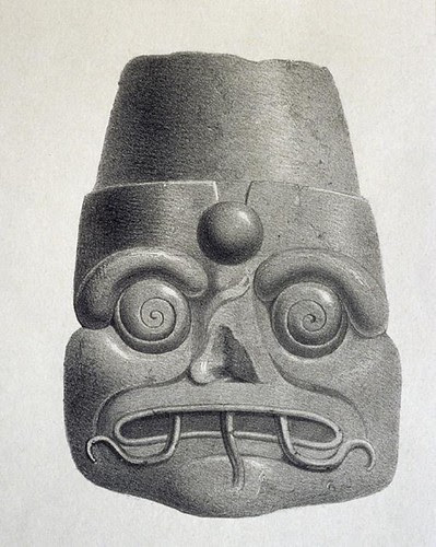 Maya city of Uxmal - grotesque mask (1838) a
