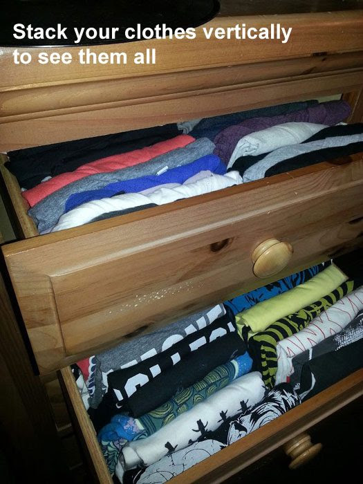 stack your clothes vertically to see them all