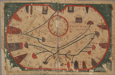 Sicily map from 11th century Islamic manuscript at Bodleian Library
