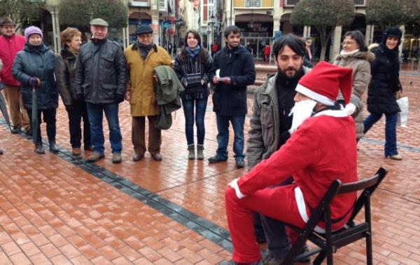 Momento de la representación en la Plaza Mayor.