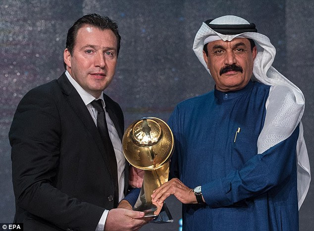Belgium boss Marc Wilmots (left) was also a winner in Dubai after he was named Best Coach of the Year