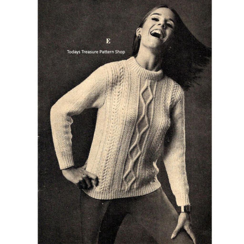 Vintage Aran Knitted Sweater Pattern