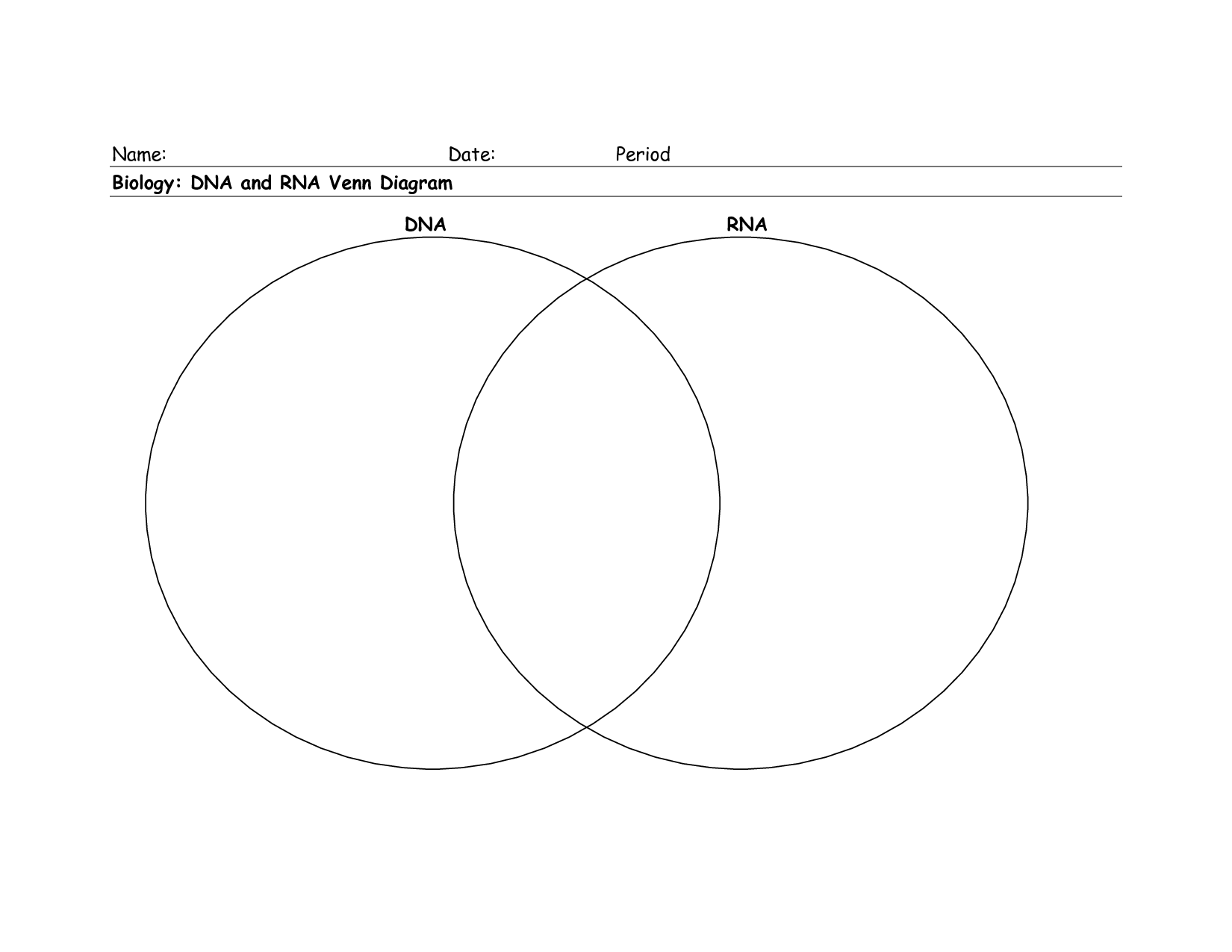 wiring diagram database  dna vs rna venn diagram