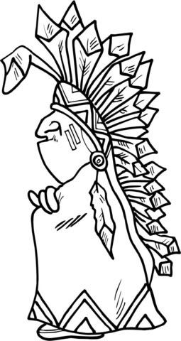 Dibujo De Jefe Indio Para Colorear Dibujos Para Colorear Imprimir