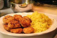 Polpette di pollo speziate con riso <span class=