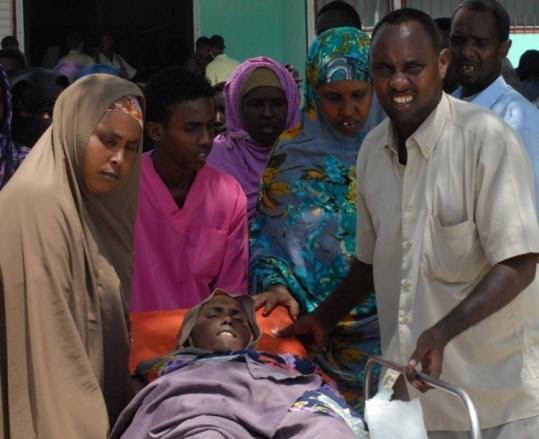 A civilian was taken to Medina Hospital in Mogadishu, Somalia, after suffering injuries during fighting yesterday.