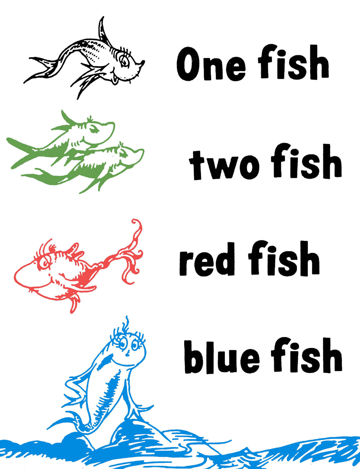 6 Best Images of Red Fish Blue Fish Printables - One Fish ...