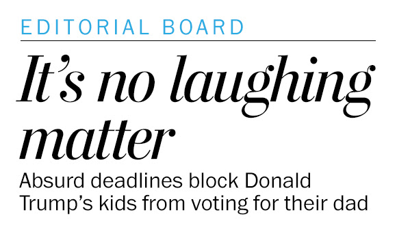 Donald Trump's kids can't vote for their dad. That's no laughing matter.