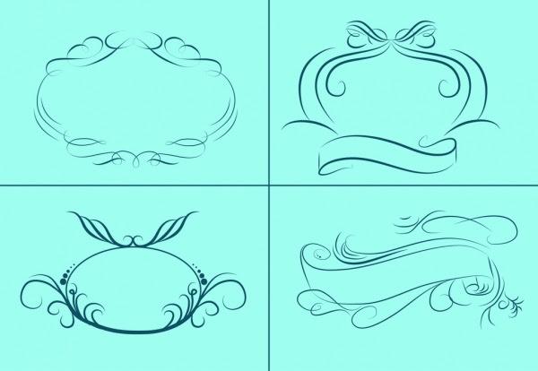 Bingkai Dan Pita Sketsa Koleksi Klasik Dekoratif Kurva Vektor Misc