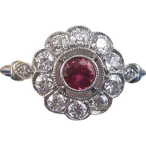Art Deco Vintage 1930's Ruby Diamond Halo Engagement