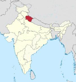 Kart over Uttarakhand