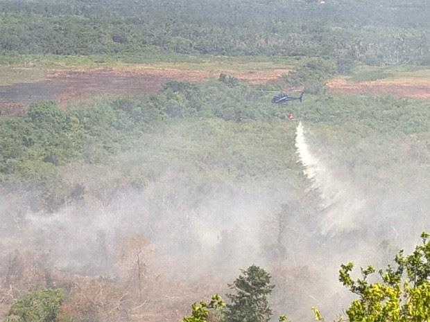 Segundo a polícia, incêndio é provocado por ação humana (Foto: Divulgação/Polícia Militar)