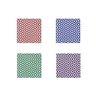 Meander Pattern Set: Red, Blue, Green, Purple Stone Magnet