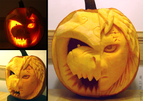 Gaara and Shukaku Pumpkin by PunkBouncer