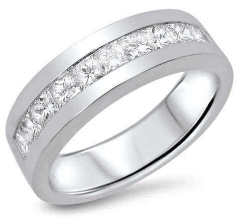 Mens 1.10ct Princess Cut Diamond Wedding Band Ring 14k