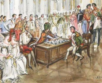Dibujo de Napoleón ante el autómata. La partida es seguida por un gran número de cortesanos