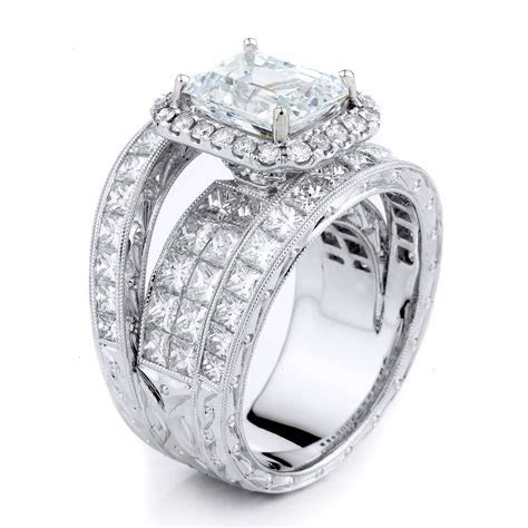 Supreme   Platinum Engagement Ring Set with 4 Rows of