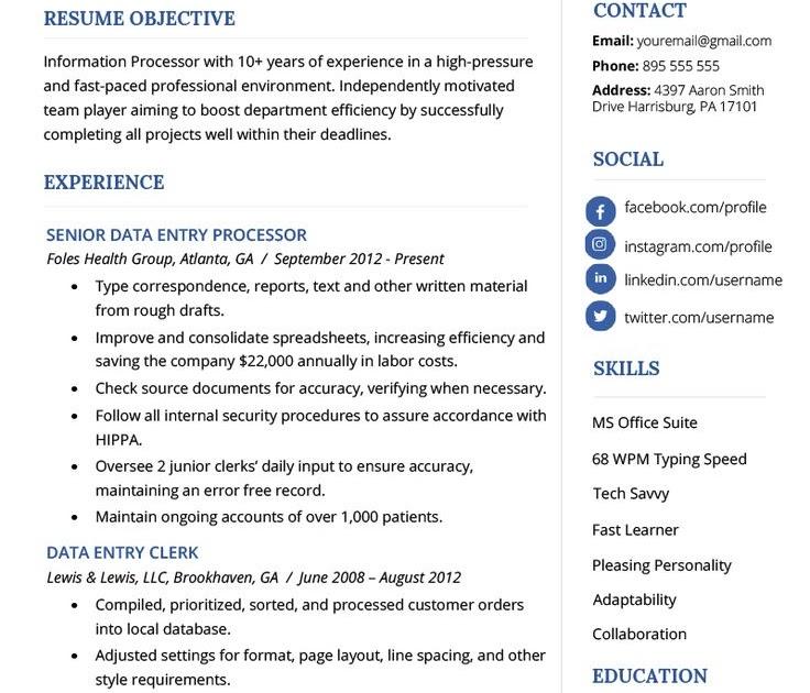 data entry clerk resume example template 2019  resume