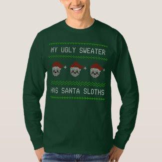 Funny Santa Sloths Ugly Christmas Sweater