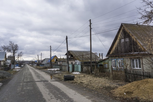 In this photo taken on Wednesday, April  6, 2016, a dog runs along a street in the town of Sultanovo near the Techa River, Chelyabinsk region, Russia, where ...
