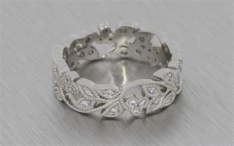 Stunning Vintage, Floral Style, Platinum Wedding Band with