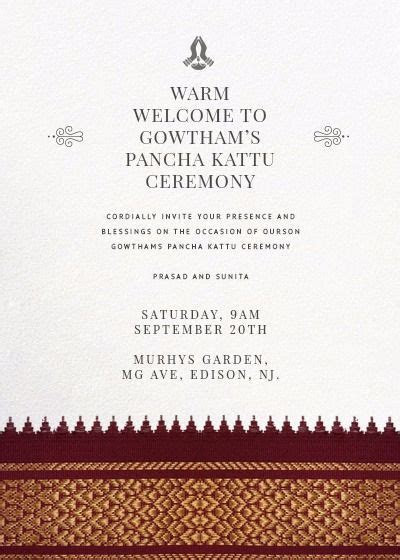 dhoti ceremony invitation   Indian Invitations in 2019