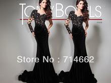 Long black velvet evening dress