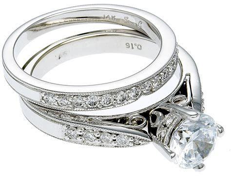 14K White Gold Diamond Engagement Ring & Band
