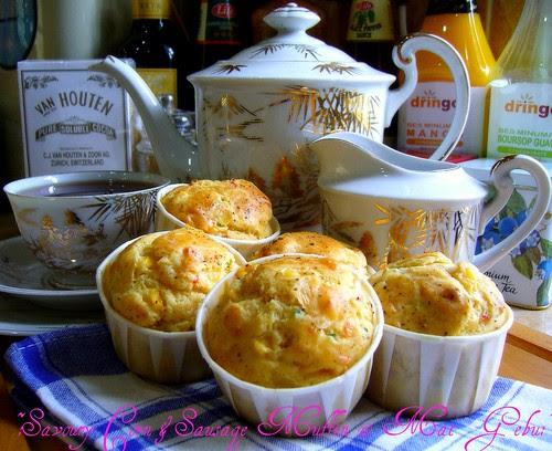 savoury corn and sausage muffin