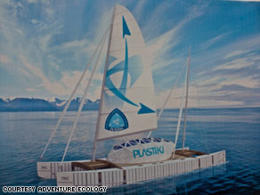This 60-foot sailboat, the Plastiki, is being built from more than 12,000 recycled plastic bottles.