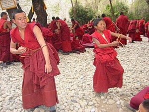 Young Buddhist monks in Tibet.