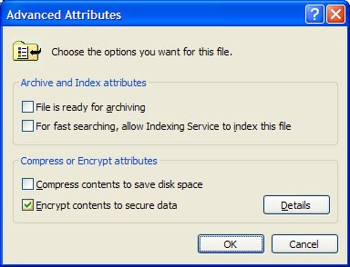 Encrypting files and folders in Windows NTFS.