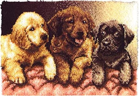 Caron Wonderart 24x34 Latch Hook Kit: Lab Puppies