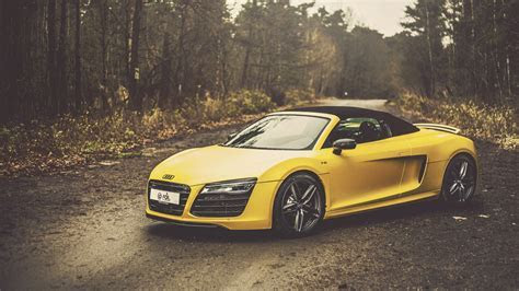 yellow audi r8 v10 spyder hd wallpaper