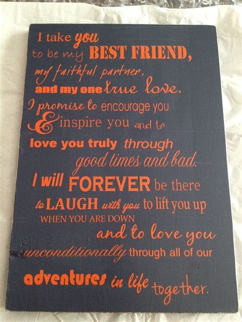 Gift to groom from bride  Wedding Vows