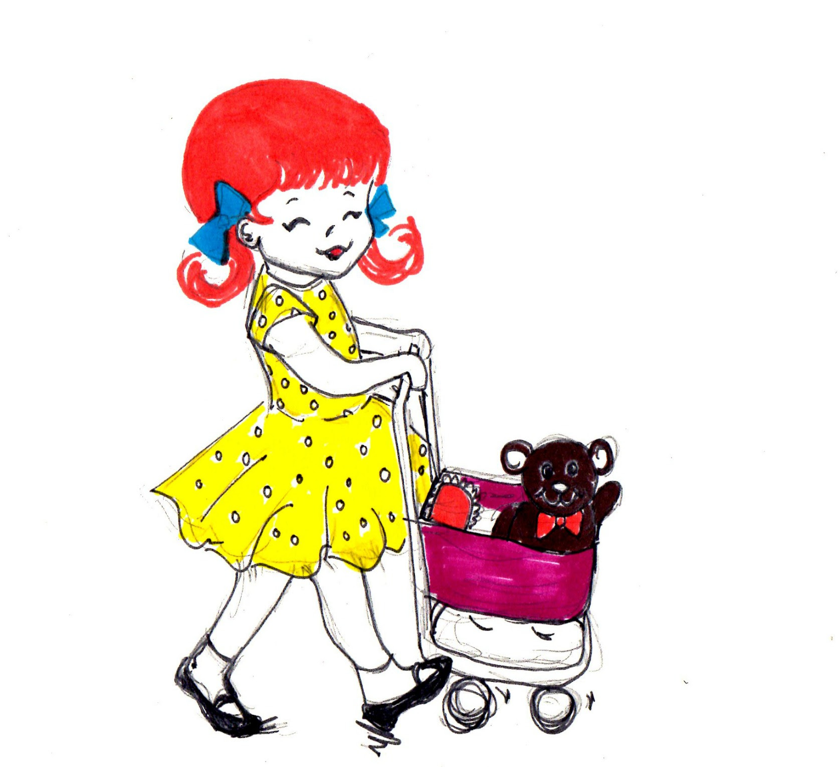 Polarn O. Pyret Girls Polka Dot Dress Illustration