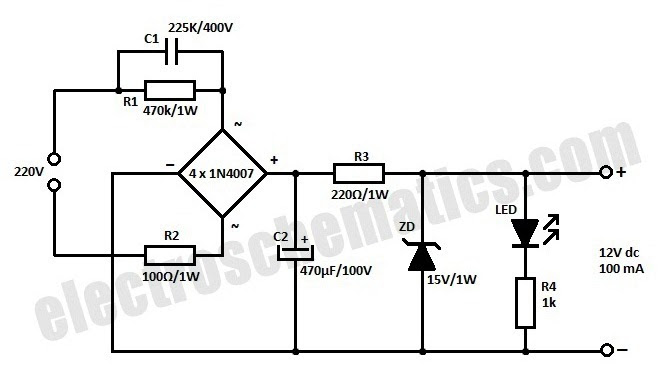 battery charger circuit diagram without using transformer