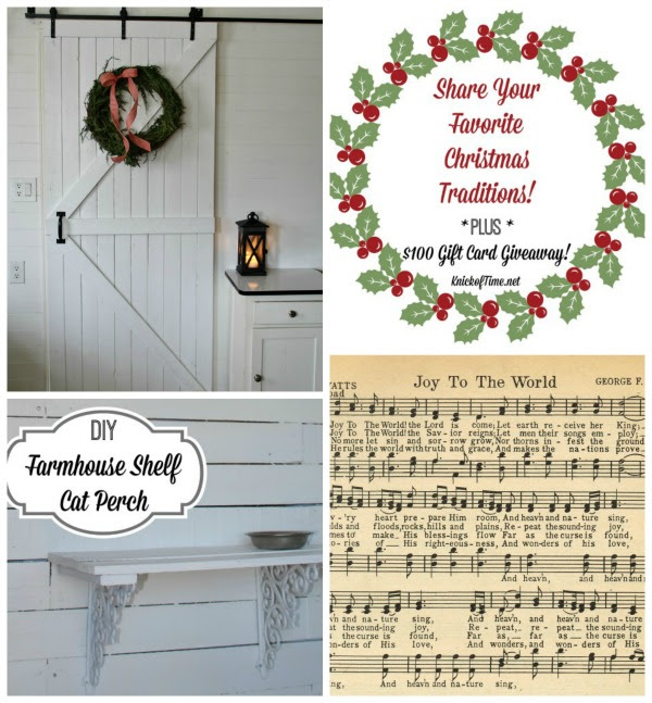 Christmas in the Kitchen | Balsam Hill Givaway | DIY Farmhouse Shelf | Joy to the World music page printable - KnickofTime.net
