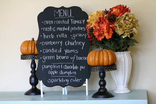 Chalkboard menu for Thanksgiving!!!