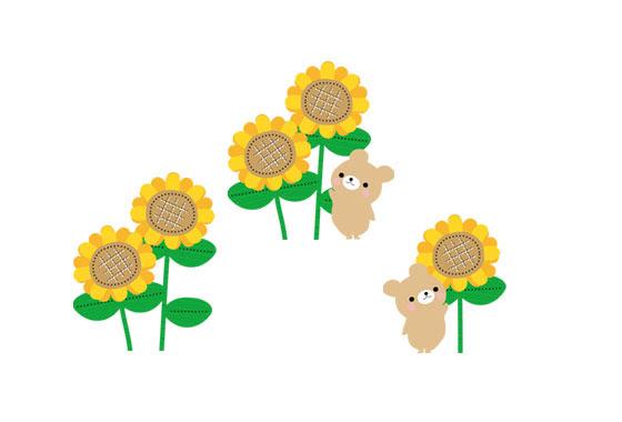 フリー素材 ひまわりの花と動物達を描いたかわいいイラストセット