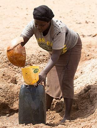 Catching water from waterhole