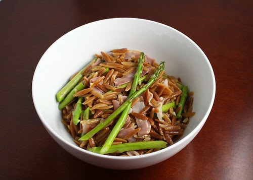 Orzo Pilaf with Asparagus and Prosciutto