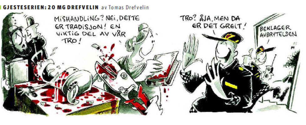 Dagbladet cartoon - cutting off toes is OK if its tradition