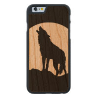 Howling wolf silhouette wood iPhone 6 case Carved Cherry iPhone 6 Slim Case