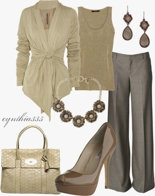 Work Outfits | Cream Dream Rick Owens cardigan, pants, L.K. Bennett shoes, Gucci tank top, Mulberry handbag by cynthia335